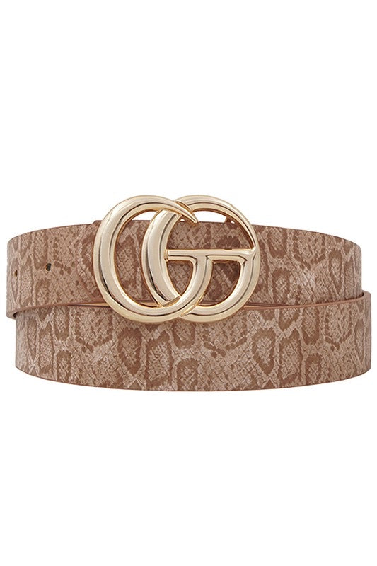 Double Vision Snake Print Belt - Multiple Colors