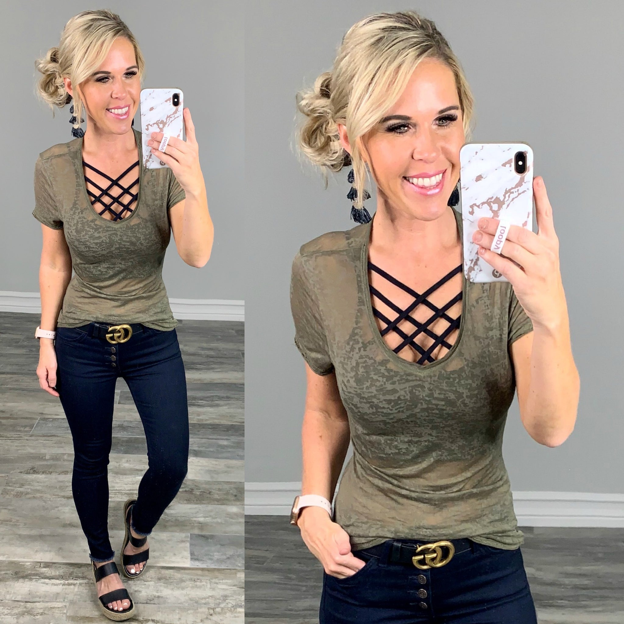 Basic Short Sleeve Deep V-Neck Burnout Tee: Army Green