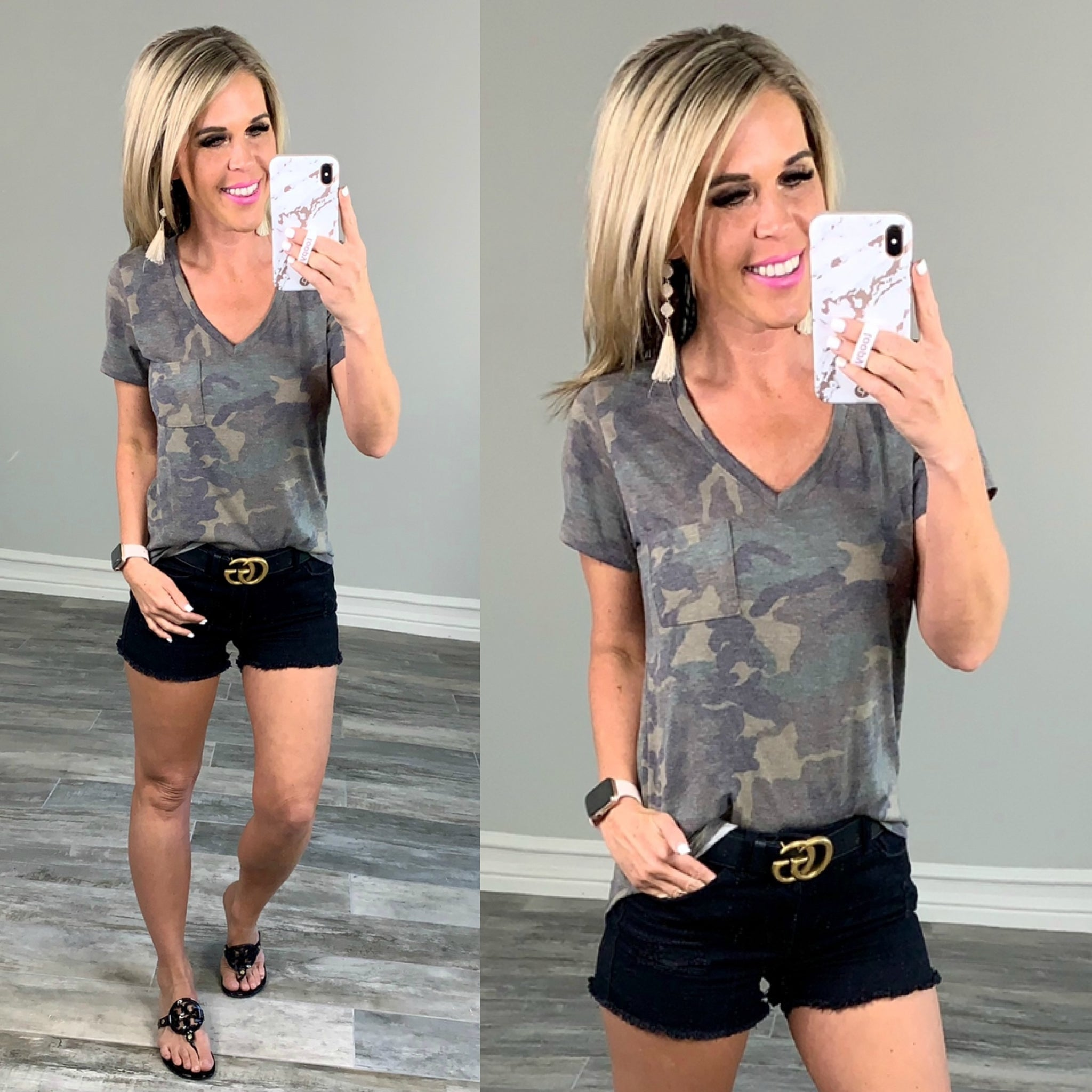 Casual in Camo Top: Olive