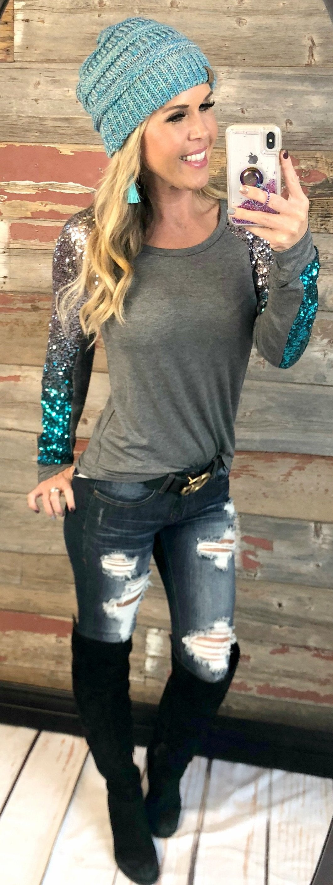 Out Shine Sequin Long Sleeved Top: Grey