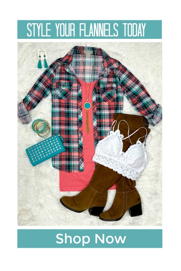 Penny Plaid Flannel Top - Pink/Teal