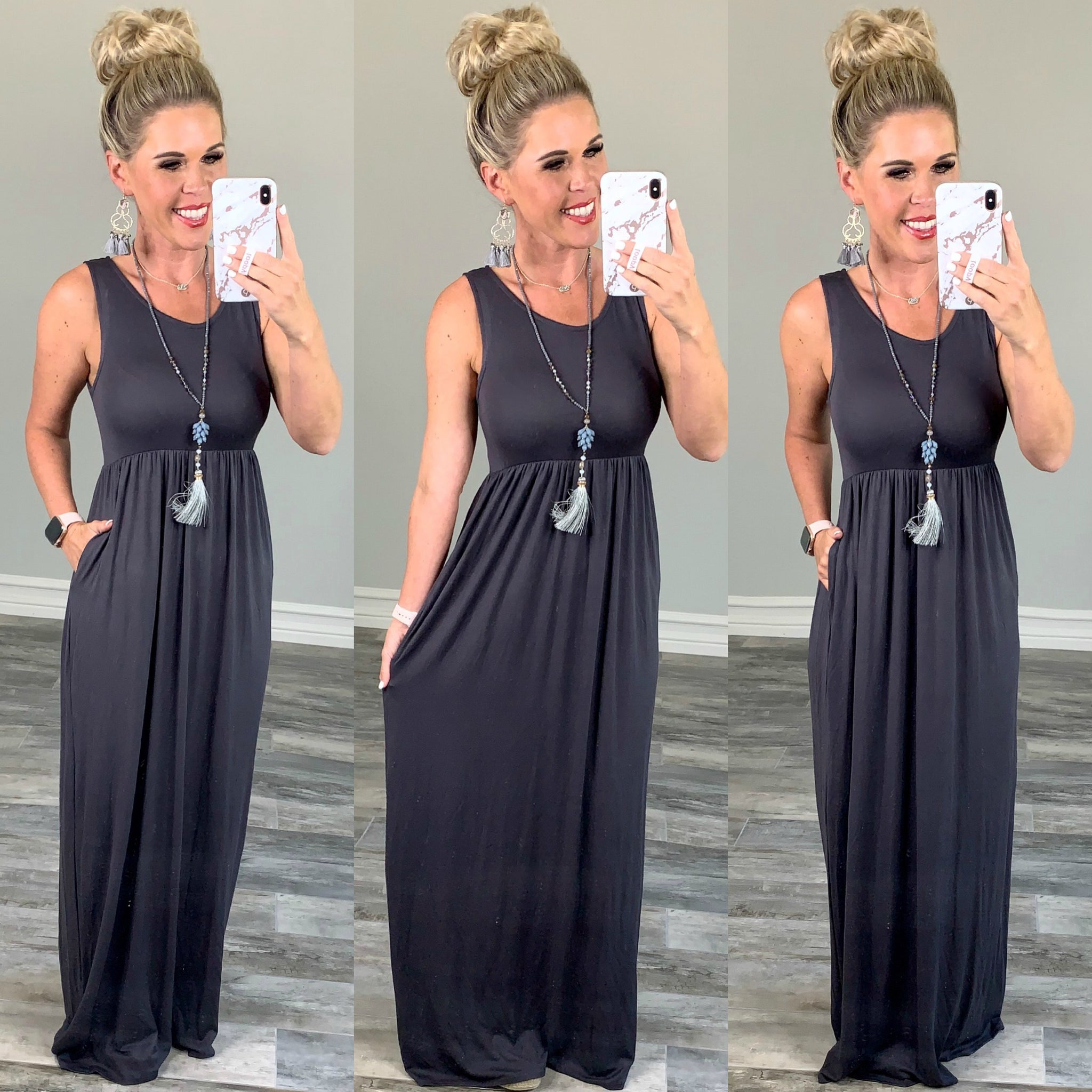 I'll Be By the Pool Maxi Dress - Grey