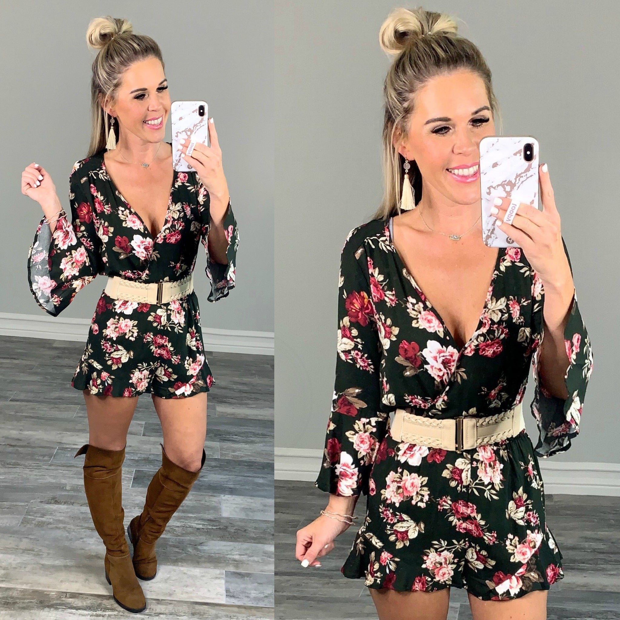 As it Happens Romper: Olive