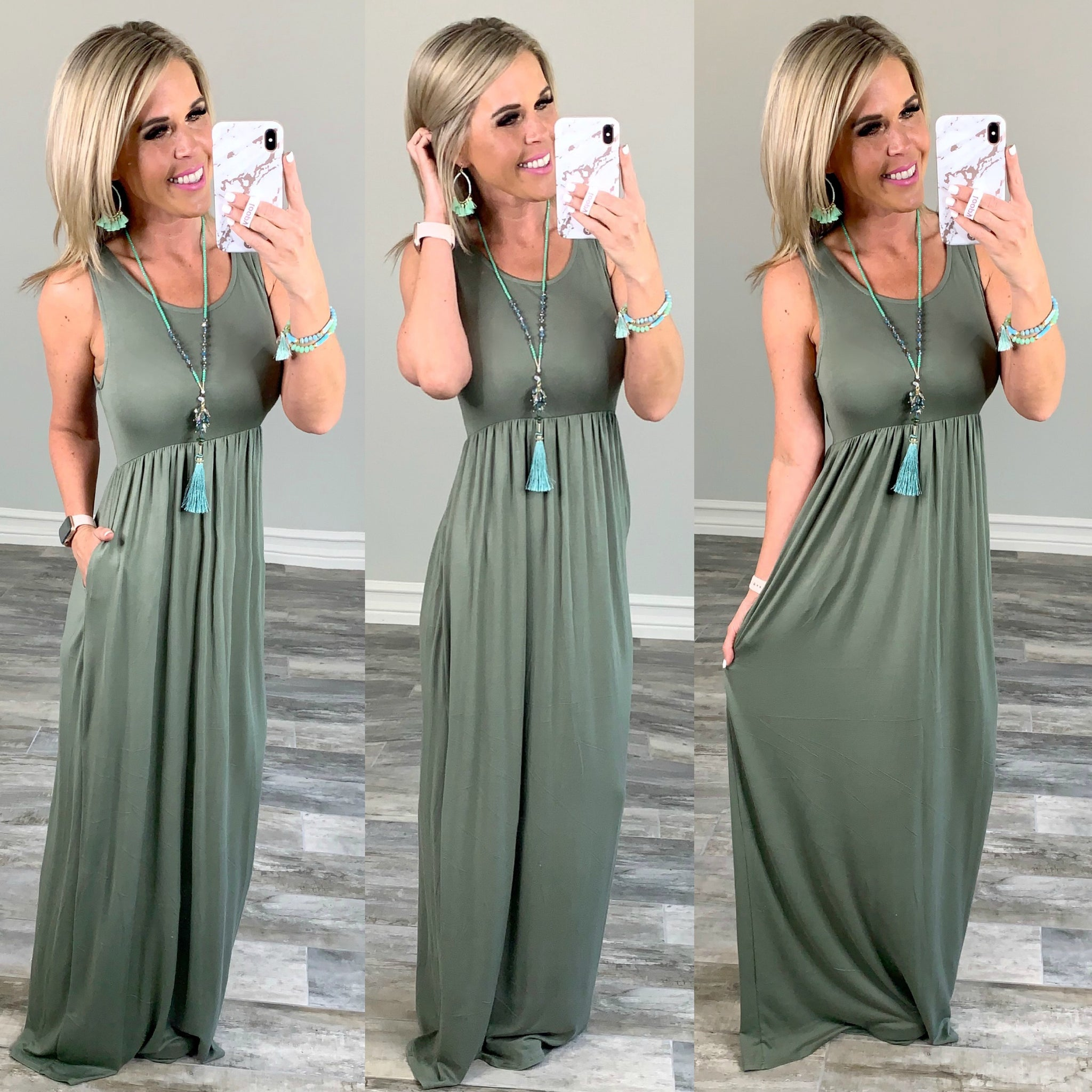 I'll Be By the Pool Maxi Dress - Sage