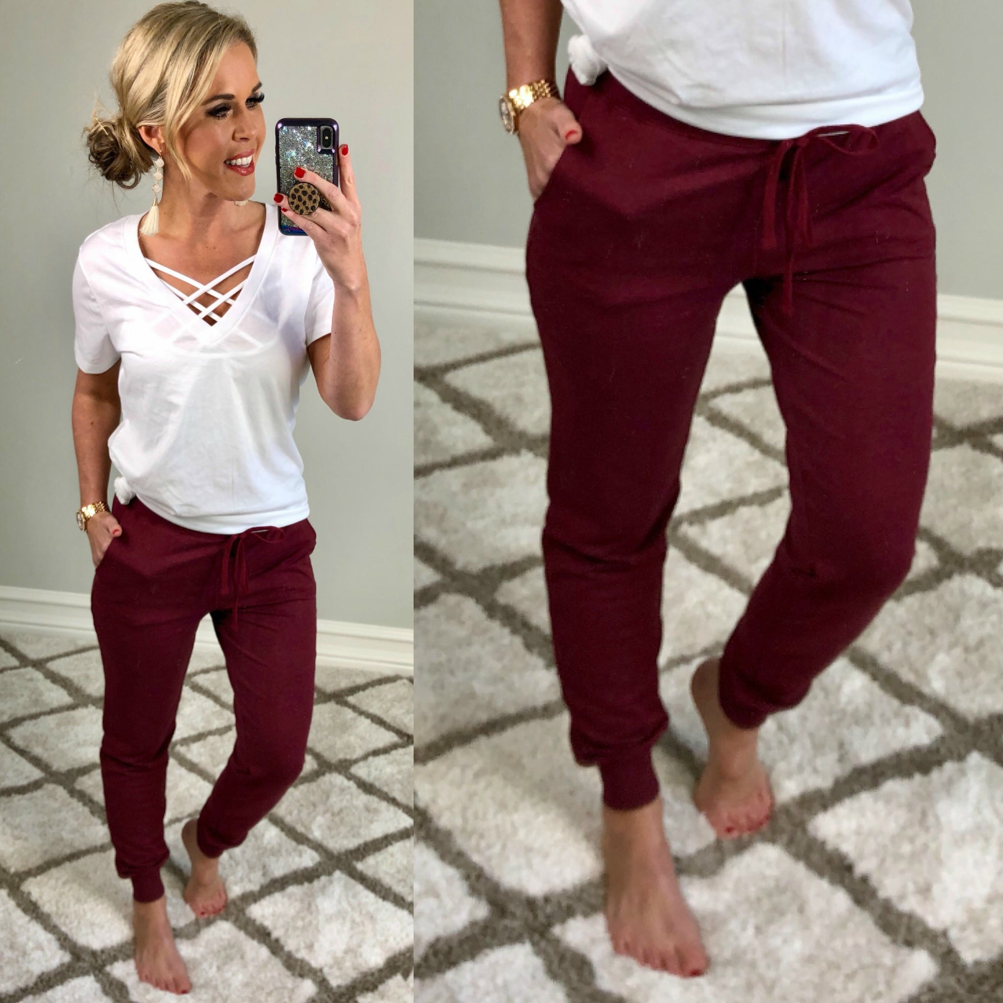 Burgundy Pocket Joggers