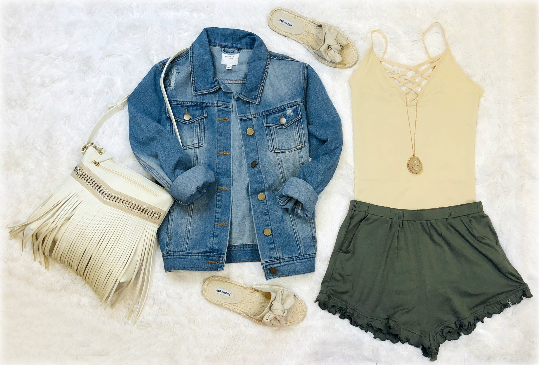 Always On Time Ruffled Shorts: Sage