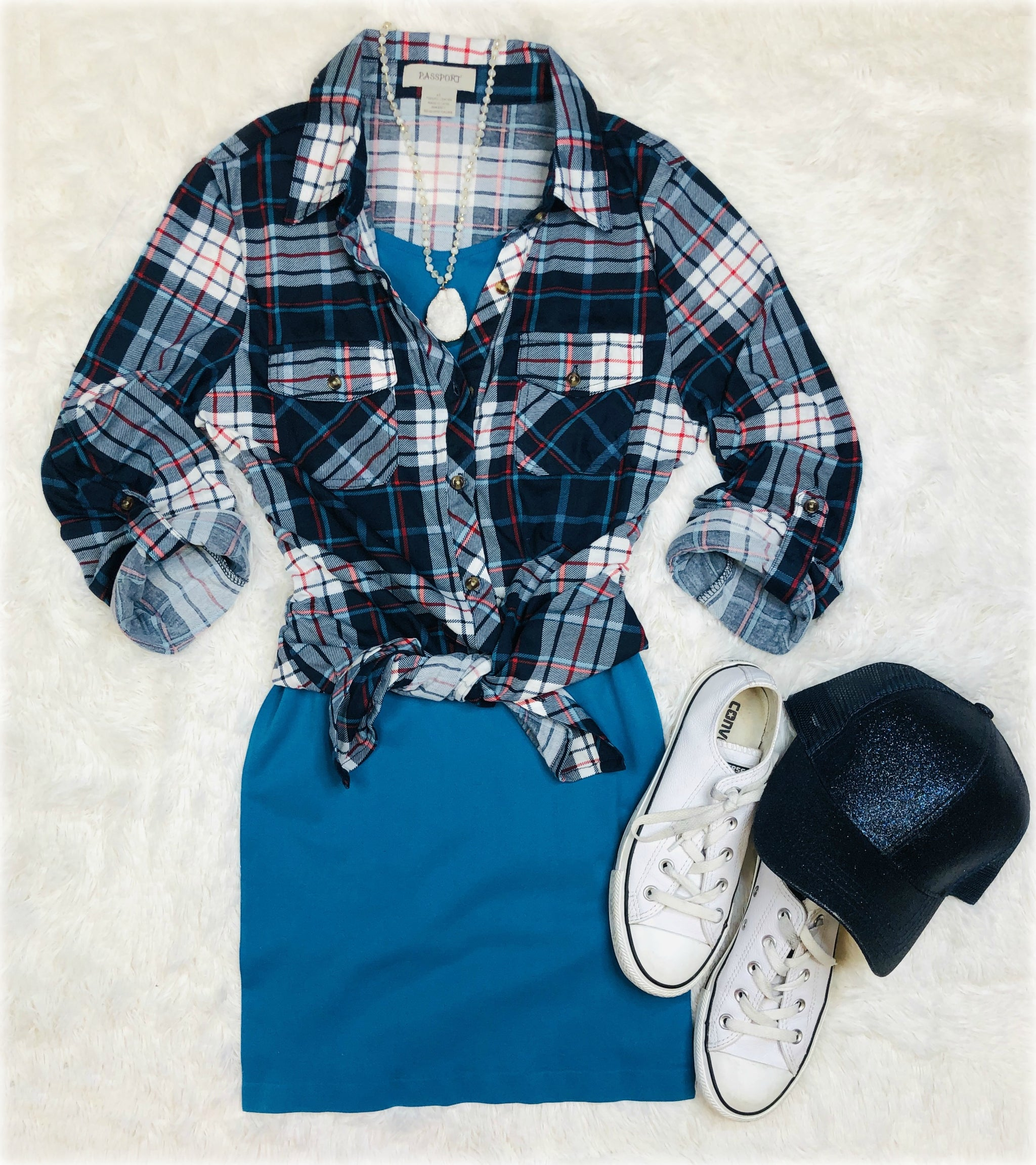 Penny Plaid Flannel Top: Navy/Light Blue/Red