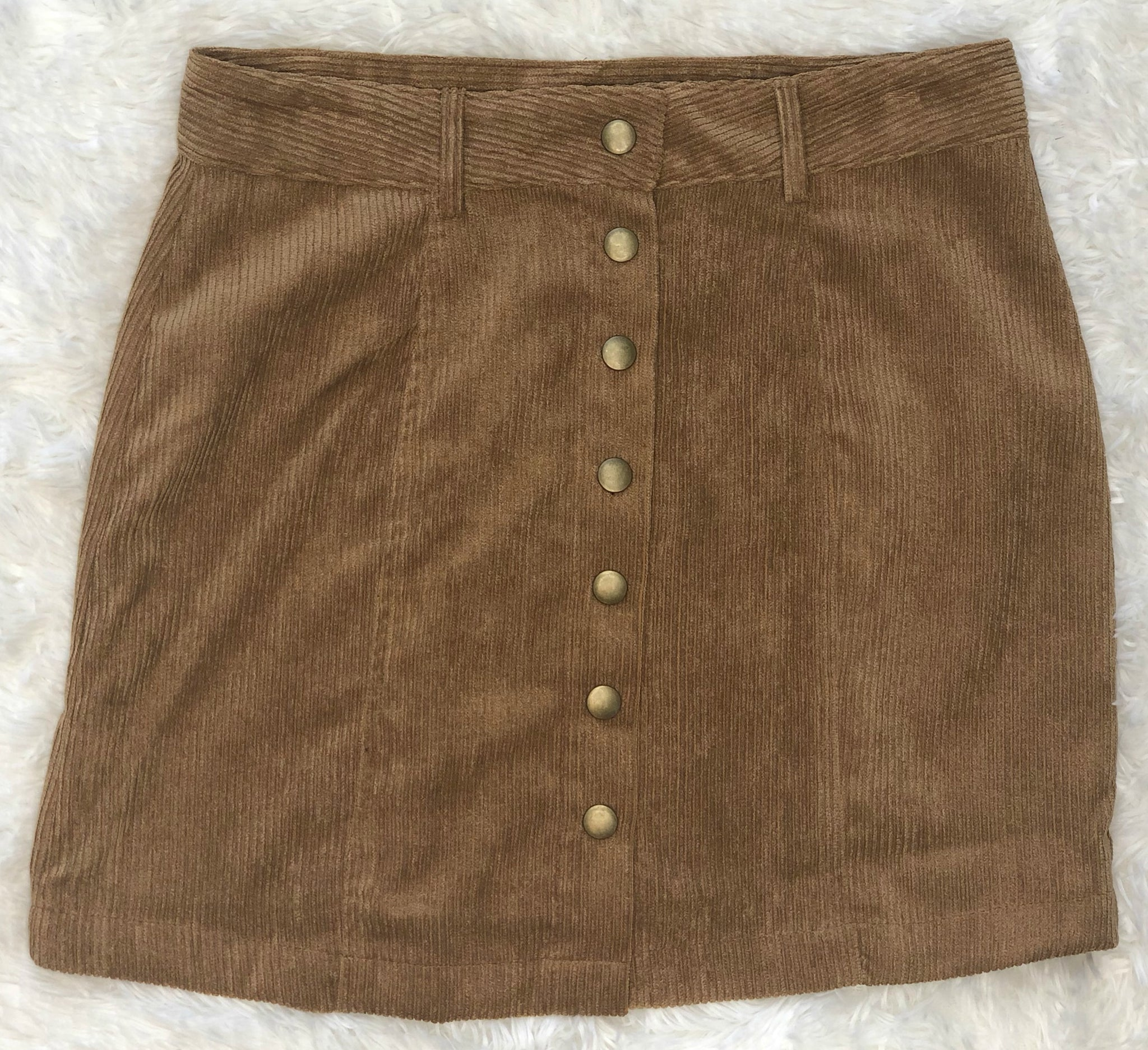 Find the Answers Corduroy Skirt: Caramel