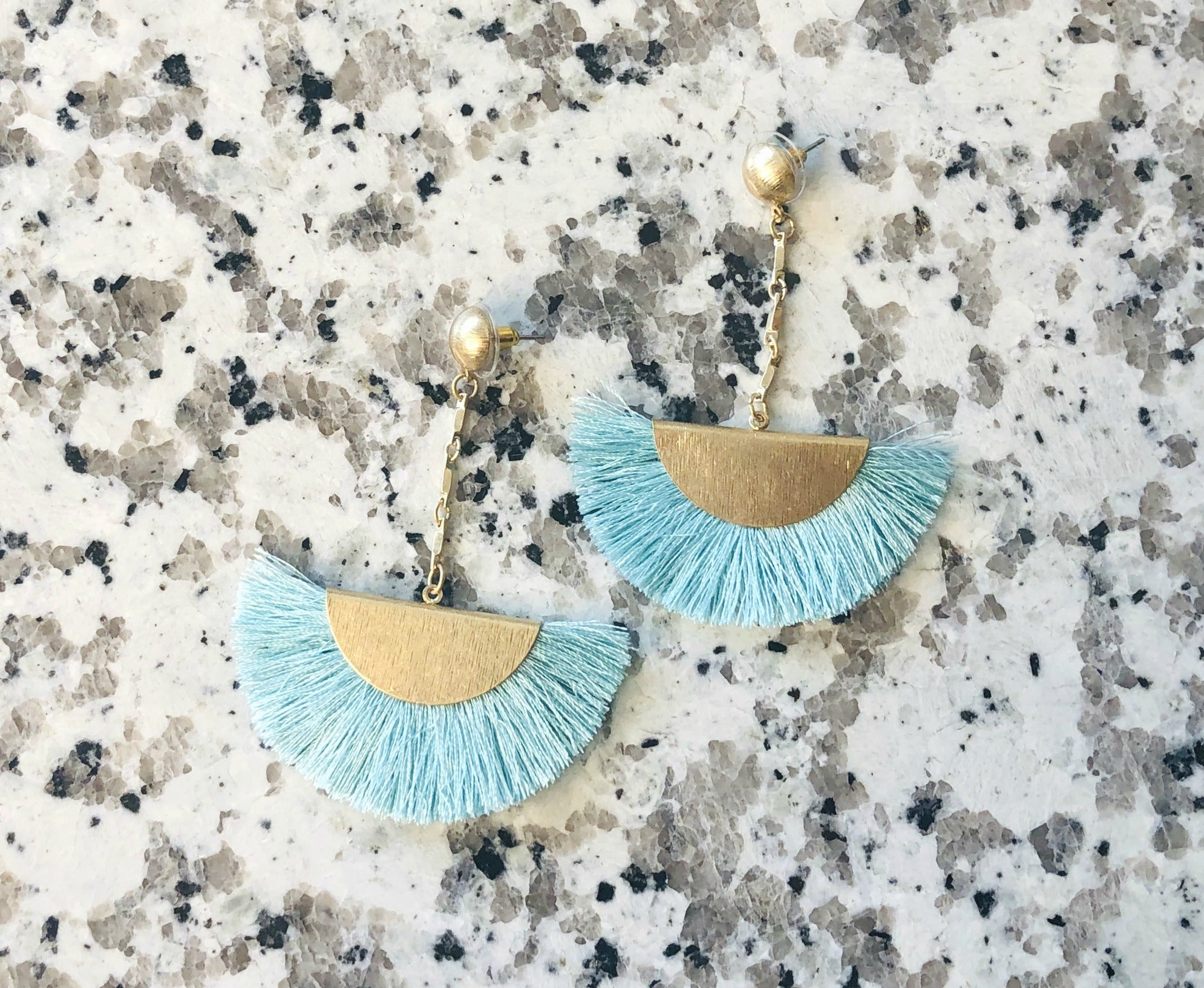 Long Time Coming Tassel Earrings: Mint