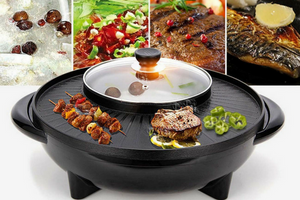 KOREAN STYLE 2 IN 1 SMOKELESS HOTPOT & BARBECUE GRILL