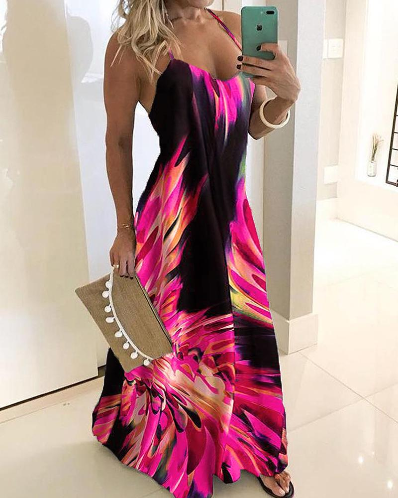 Spaghetti Strap Colorful Print Maxi Dress