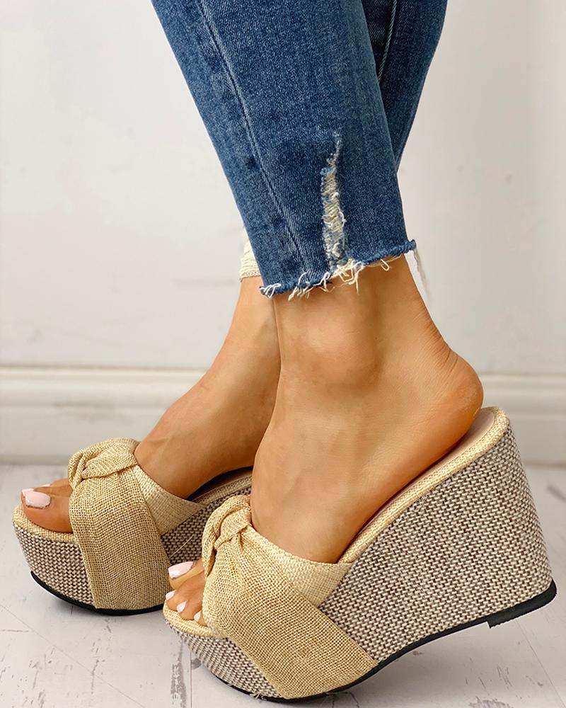 Twisted Knot Design Platform Wedge Sandals