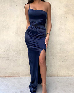 One Shoulder Scrunch Split Evening Dress
