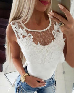 Lace Applique Mesh Stitching Cutout Back Top