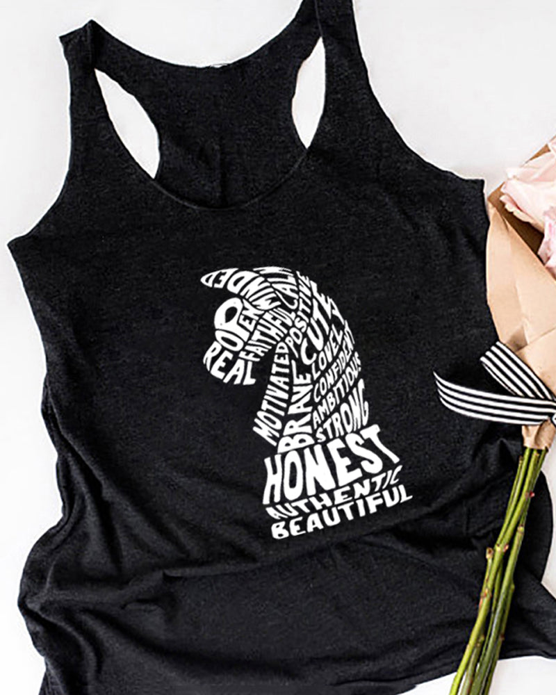 Summer Casual Horse Print Tank Top