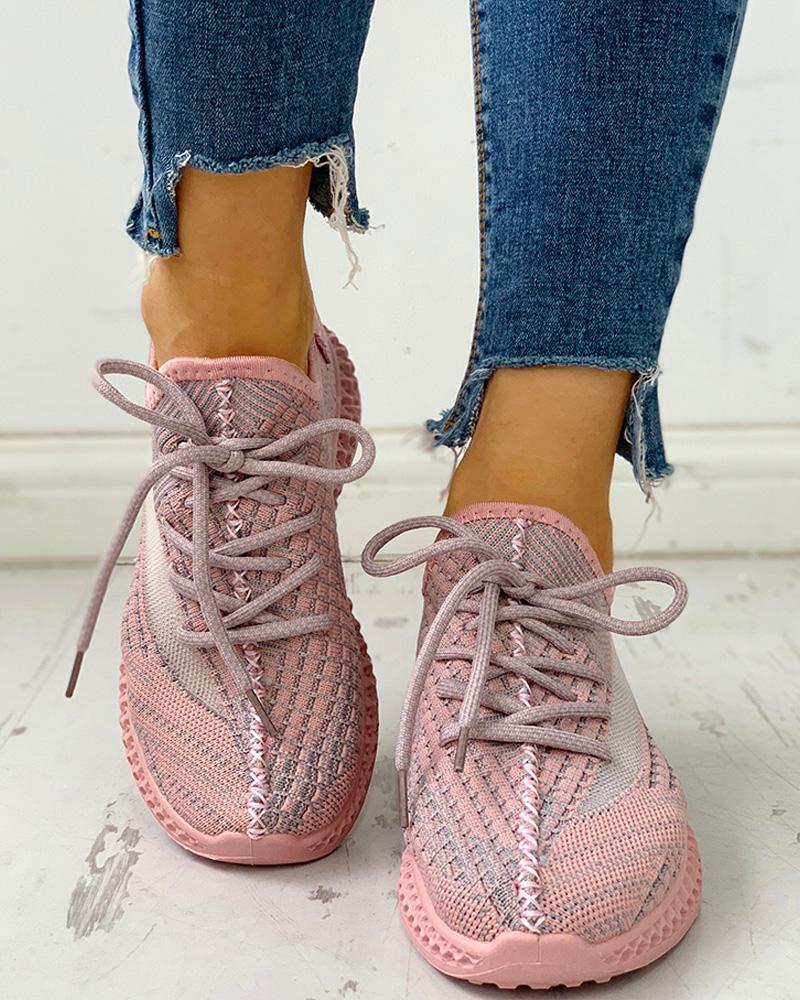 Net Surface Breathable Lace-Up Sneakers
