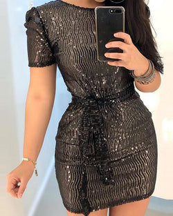 Sequins Boat Neck Waist Tie Knot Short Puff Sleeve Bodycon Mini Dress