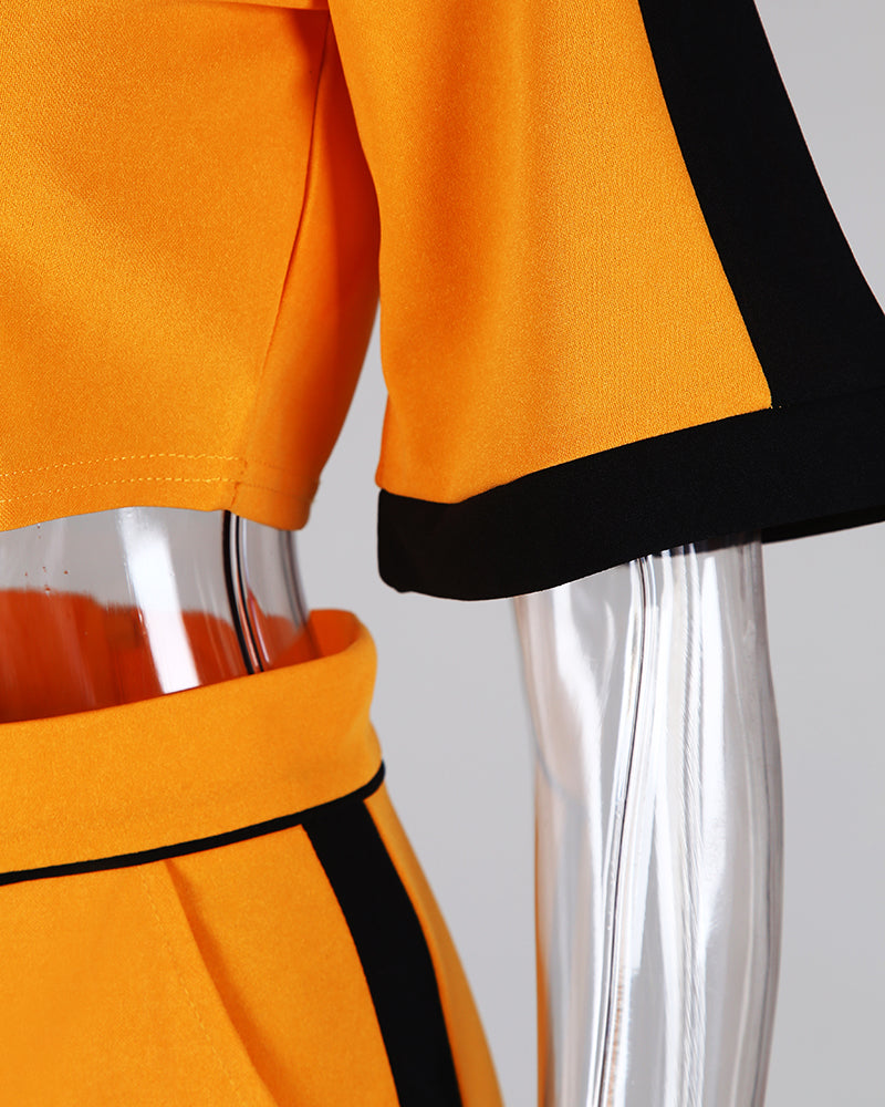 Colorblock Short Sleeve Crop Top & Skirt Sets