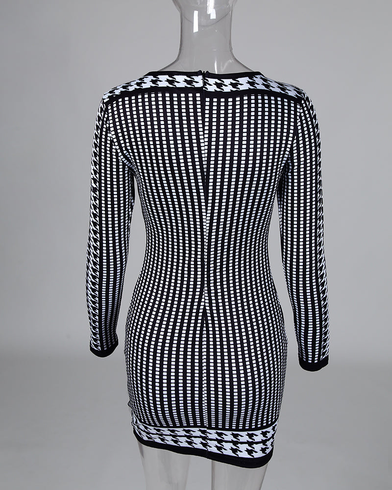 Dot Round Neck Long Sleeve Bodycon Dress