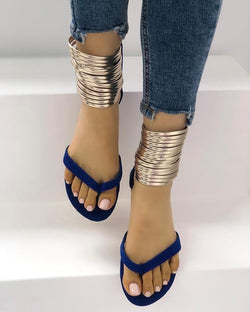 Metallic Embellished Flip Flops Platform Sandals