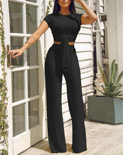 Knot Front Crop Top & Wide Leg Pants Set