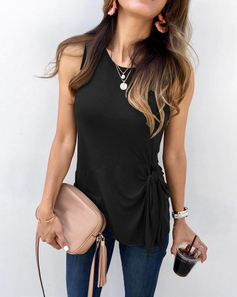 Solid Sleeveless Knotted Detail Top