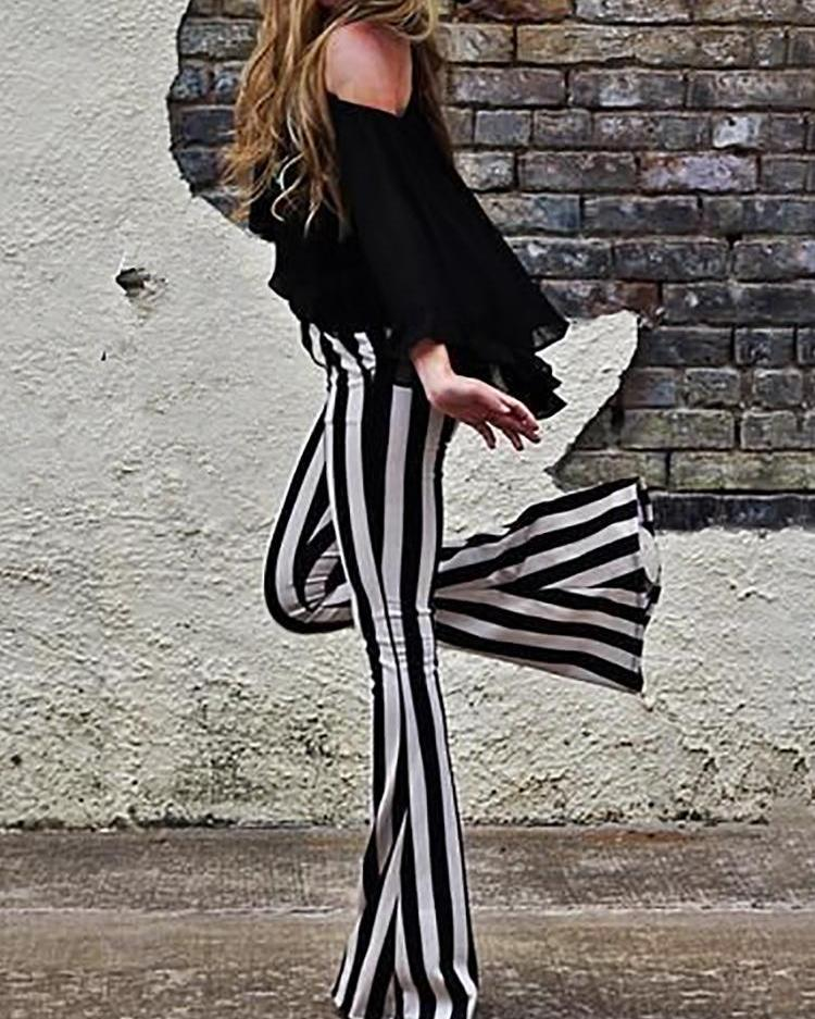 Vertical Striped Casual Bell-Bottom Pants