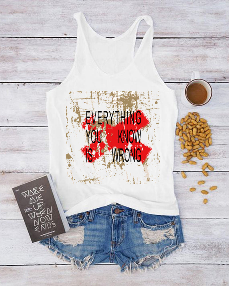 Casual Letter Print Tank Top