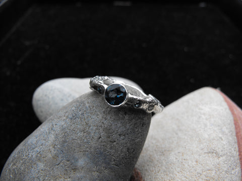 Organic london blue topaz organic ring