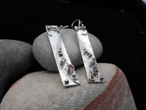 long pink rectangle earrings