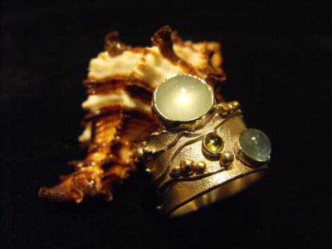 jagged edge ring with aquamarine
