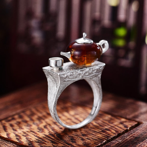 Vintage Teapot - Natural Amber - Sterling Silver - Ring