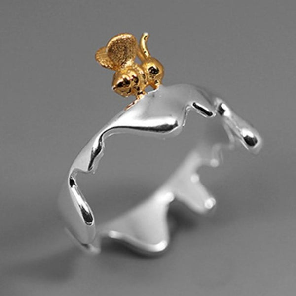 Dripping Honey Bumble Bee - Sterling Silver - 18K Gold - Ring