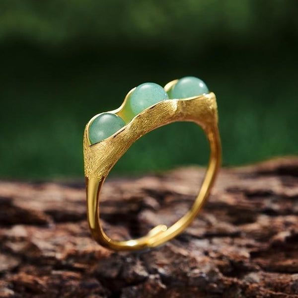 Pea Pod - Natural Aventurine Stone - Sterling Silver - 18K Gold - Ring