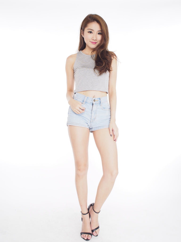 Grey Cotton Crop Tank