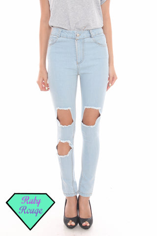 StyleNanda Inspired Cut-out Skinny Jeans