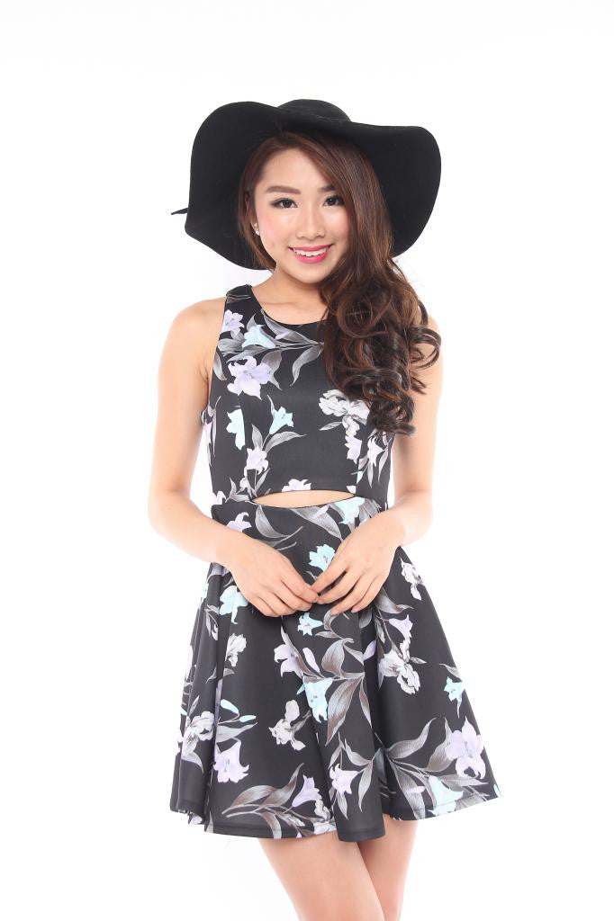 Melody Floral Cut Out Dress in Black
