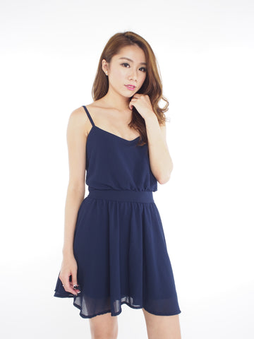 Kath Chiffon Dress in Navy