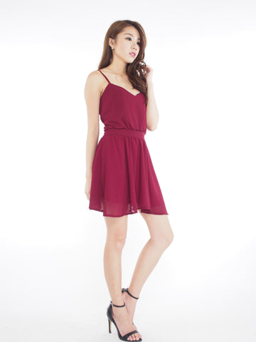 Kath Chiffon Dress in Wine