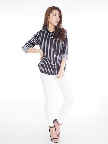 Shelly Striped Shirt in Black