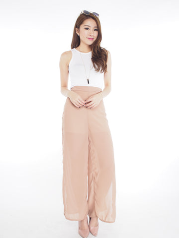 Slit Chiffon Pants in Beige