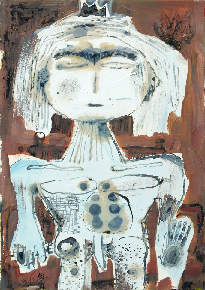 Cunning King | 21 x 14.8 cm | acrylic & ink on paper | 2012 - The king is sat in his throne and raises his left hand to wellcome someone in the foreground. His gaze is intense as if triying to find out the visitor's true intentions. He keeps a fork in his right hand.