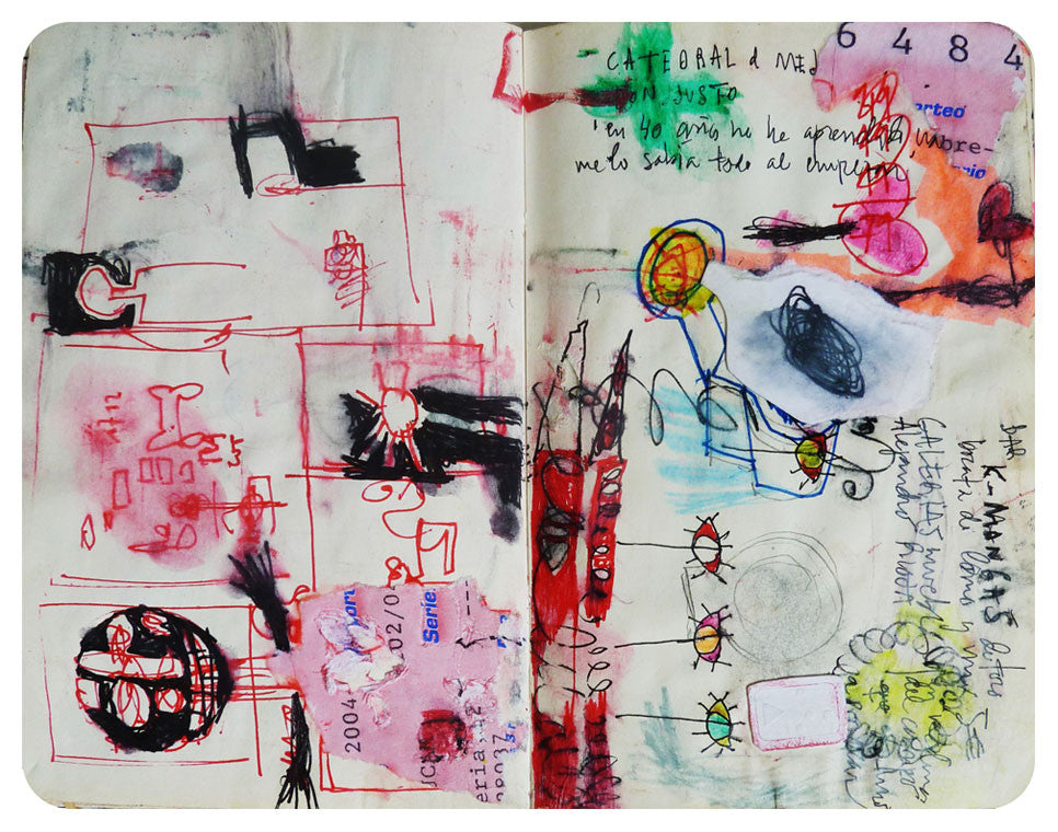 I knew everything at the start | 14 x 18 cm | collage, pen & pencil on paper | 2004 Double page and still part of the original notebook txurun's collection In 40 years I didn't learn anything, I knew everything at the start...that were the words of Don Justo, a man who devoted his life