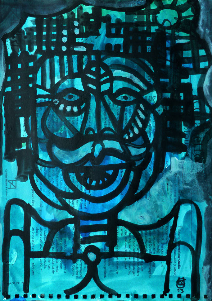 Portrait with Moustache | 29.7 x 21 cm | acrylic on cardboard | 2013
