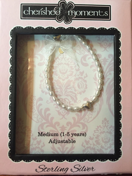 "Cherished Moments ""Destiny"" - Silver Bracelet w/Freshwater Pearls & Heart"