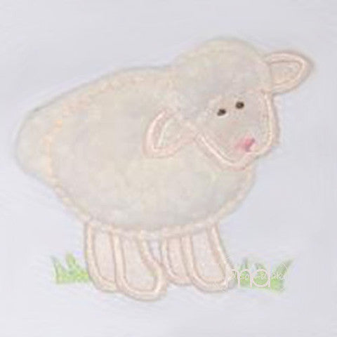 3 Marthas Applique White Lamb Blanket