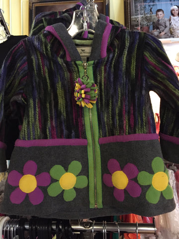 Widgeon 3417 Color Block Flower Jacket - Stripe Purple