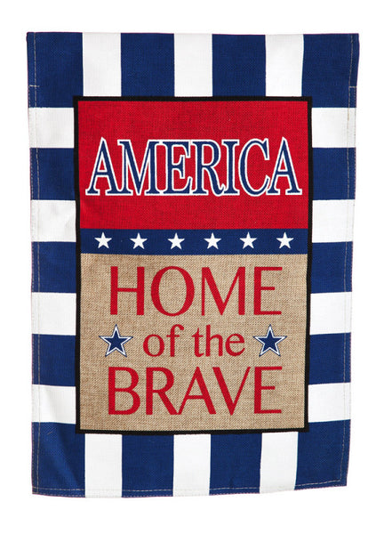 Evergreen Garden Burlap - American Home of the Brave Flag