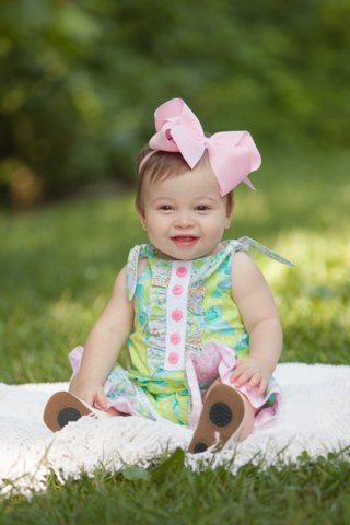 Peaches N' Cream 217-1520 Butterfly Kisses Romper - Sprout/Blue