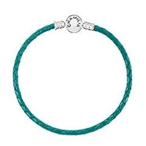 Chamilia Braided Snap Closure Leather Bracelet Teal - Large 1030-0136
